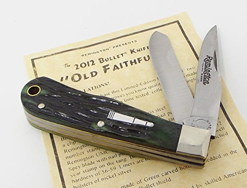 USA Made Remington Old Faithful Two Blade Trapper Pocket Knife 2012 Tang Stamp