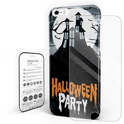 Halloween Party Castle Gloomy Forest Tomb Phone Case Protective Design Durable Hard PC Back Phone Cover with Tempered Glass Screen Protector Compatible for iPhone 6/iPhone 6s]()