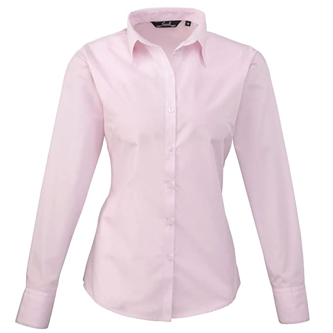 Premier Workwear PR300 Mujer Negocio Hospitalidad Barwear Manga Larga Popelina Camisa Rosa 12