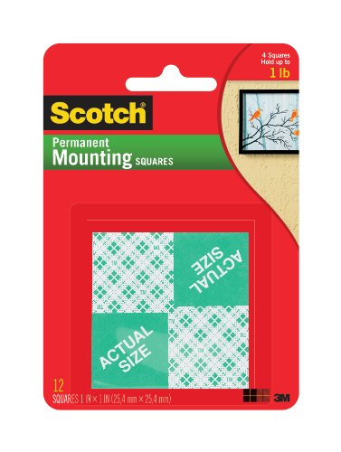 (Scotch Indoor Mounting Squares, 1-inch x 1-inch, White, 24-Squares (111-24))