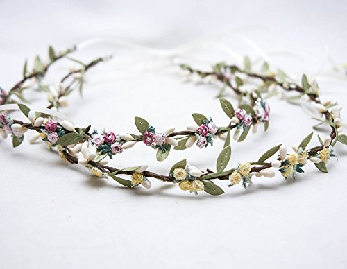Flower Crown In Yellows or Pink and Lavender, Wedding Halo, Small Floral Headbands, Bridesmaids Hair Accessory, Flower Girl Headpiece by BE something New