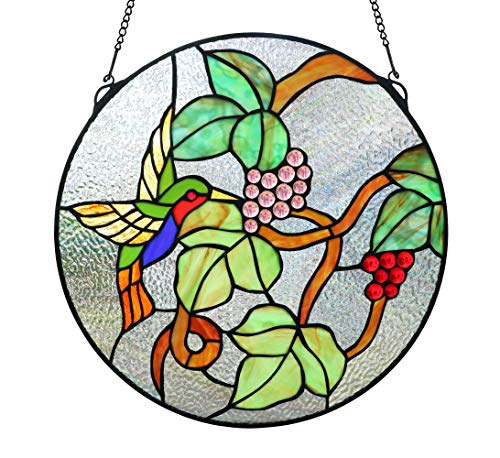 (Happy Living Time 16 Inch Tiffany Style Stained Glass Hummingbird Window Panel with Hanging Chain (Yellow Hummingbird with)