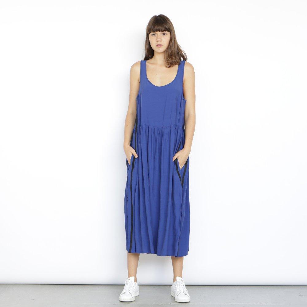 Christmas sale: Blue sleeveless summer dress, side stripes Detail dress,Blue.