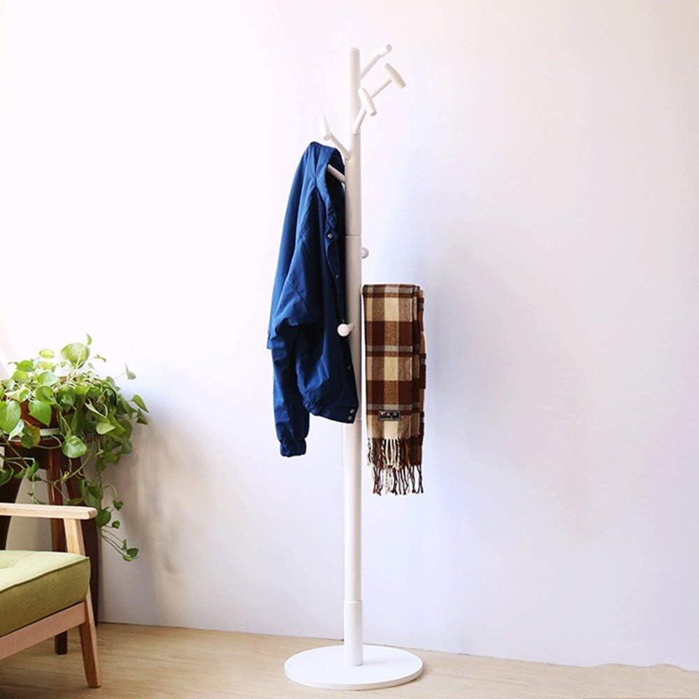 コートラックコートと帽子ラックスタンドシンプルシングルロッドタイプウォールハンガーホワイト無垢材家庭用 HAIMING (色 : 白)