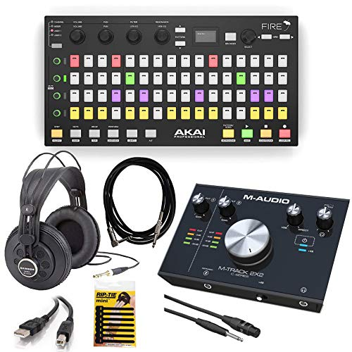 (Akai Professional Fire FL Studio Performance Controller with FL Studio Fruity Edition Software + M-Audio M-Track 2X2 USB Audio Interface + Headphone + Cables & More - Top Value Bundle!)