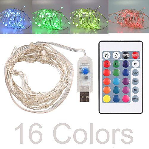 16' Usb (16ft LED USB String Lights 16 Colors Multi Color Changing Copper Wire String Lights with Remote Control Waterproof Decorative Lights for Bedroom, Patio, Garden, Parties, Wedding, Christmas Gift)