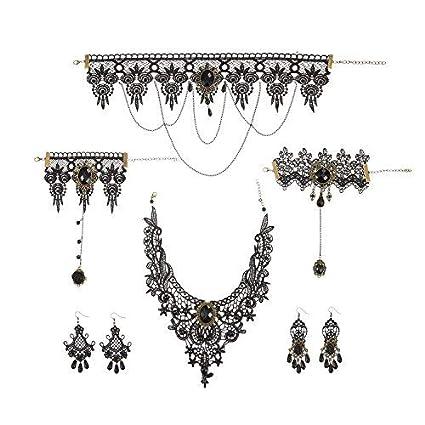 Lvcky - Conjunto de Collar y Pendientes de Encaje Negro gótico Vintage