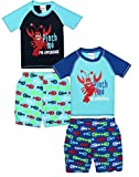Sweet & Soft Baby Boys 4-Piece Rash Guard and Trunk Swimsuit Set (Infant/Toddler), Lobster, Toddler (4T)'