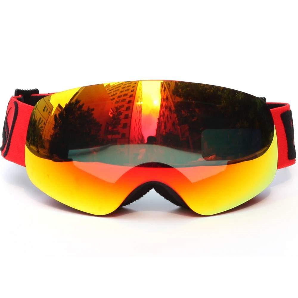 Chuangrong スキーゴーグル キッズ フレームなし 取り外し可能 2層 PCレンズ 曇り止め 保護 超広角 調節可能 スキー スノーボード ピンク