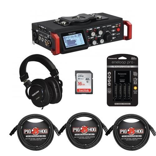 - Tascam DR-701D 6-Track Field Recorder DSLR Camera SMPTE Timecode - Bundle Panasonic 4 AA Ni-Mh Batteries, TH-MX2 Mixing Over-Ear Headphones, 16GB SDHC Card, 3 Pack Cables