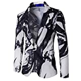 Men Fashion Winter One Button Ink Printed Blazer Coat Outwear (XL, White)