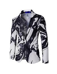 Pervobs Men Autumn Winter Long Sleeve Button Lapel Printed Pocekt Coat Outwear Jacket