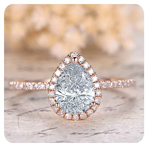 1.50 Ctw Pear Shaped Created White Diamond 14k Rose Gold Over .925 Sterling Silver Engagement Ring for Women's ()