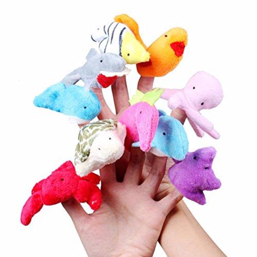 10 Cartoon Animal Finger Puppet Plush Toys - 7