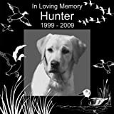 Personalized Pet Hunting Bird Gun Dog Memorial 12''x12'' Engraved Black Granite Grave Marker Head Stone Plaque HUN1