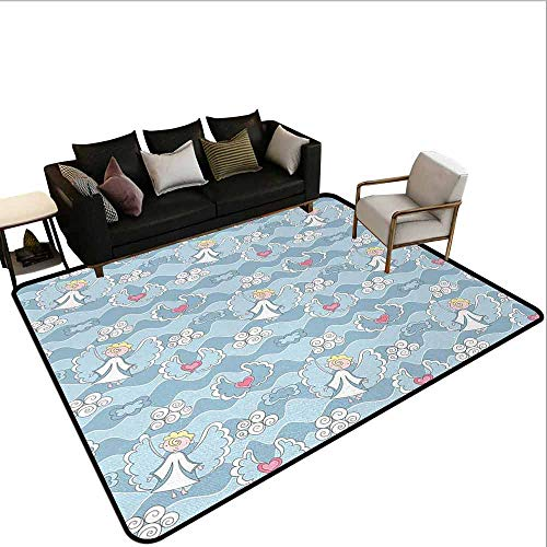 AlEASYHOME Collection Area Rug, Little Boy Hovering in The Sky Clouds with Hearts Creative Childhood Dreams, 15.5