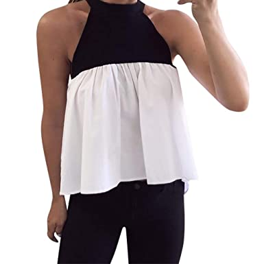 69b92917c22 Women Tunic Tops Sleeveless Halter Color Block Splice T-Shirt Loose Blouse  Casual Tank Tops. Roll over image to zoom in