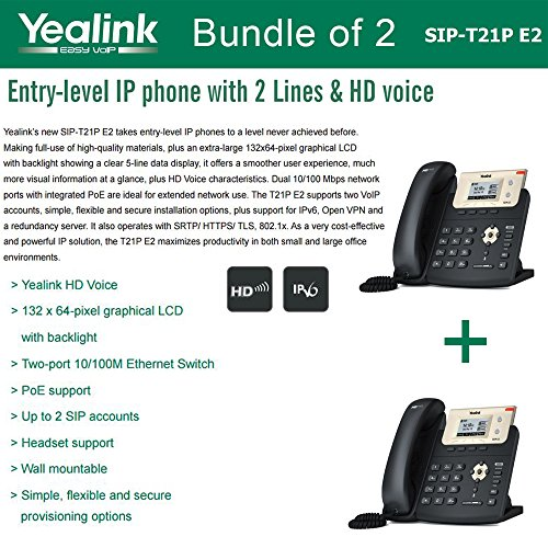 Yealink SIP-T21P E2 Bundle of 2 Entry-level IP phone 2 Lines HD voice PoE LCD by YEALINK