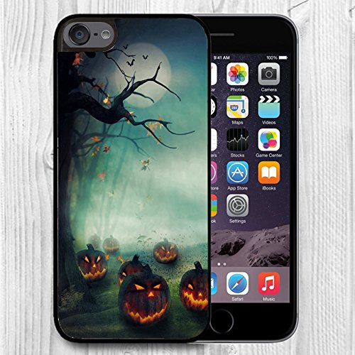 for iPod Touch Case,iPod 6 Black Case, FTFCASE Case TPU Rubber Gel Design for Apple iPod Touch 6th Generation - Halloween Pumpkins -