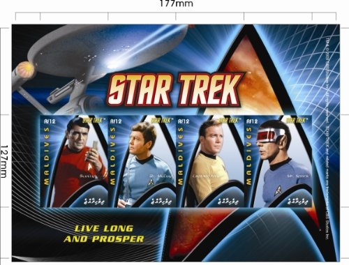 Star Trek Scotty, Kirk, Spock, McCoy Collectible Postage Stamps Maldives 2971