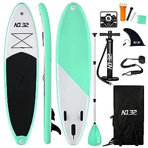 Tabla Hinchable de Paddle Surf + SUP Paddle Remo de Ajustable | Bomba | Mochila | Aleta Central Desprendible | Kit de Reparación | Vela de Viento y ...