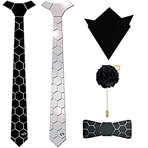 HEX TIE Unisex Emirate Luxury with HexBow Pocket Square and Lapel Pin Combo (Silver, Free Size)