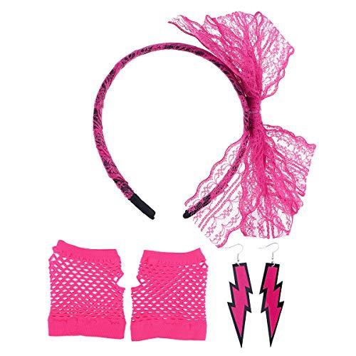 80's Lace Headband Neon Earrings Fingerless Fishnet Gloves for 80's ()