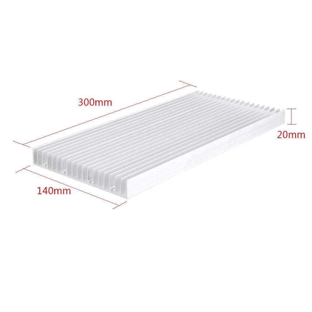 Aluminum Heat Sink Heatsink Module Cooler Fin for High Power Amplifier Transistor Semiconductor Devices with Dense 19 pcs Fins 11.8''(L) x 5.51''(W) x 0.79''(H) / 300 mm (L) x 140 mm (W) x 20 mm (H) by walfront (Image #1)