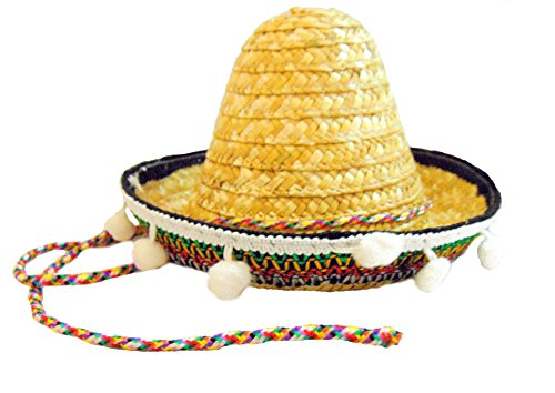 [Cinco de Mayo Mexican Sombrero Hat with Chinstrap 6 Inch Mini Party Hat] (Dia De Los Muertos Mariachi Costume)
