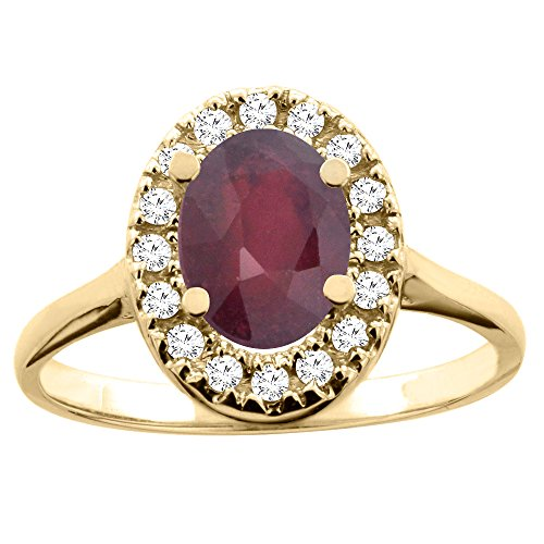 14K Yellow Gold Natural Ruby Ring Oval 8x6mm Diamond Accent, size 7 14k Yellow Gold Natural Ruby