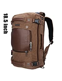 Canvas Backpacks Witzman Mens Duffel Leather Hiking Casual Travel Rucksacks