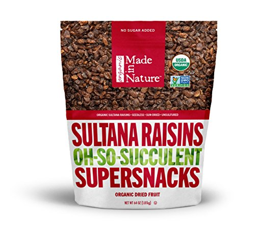 Organic Raisins - Made in Nature Organic Super Snacks, Sultana Raisin, 64 Ounce