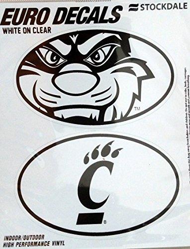 Cincinnati Bearcats 2-Pack EURO STYLE Vinyl Oval Home Auto Decals Sticker University of