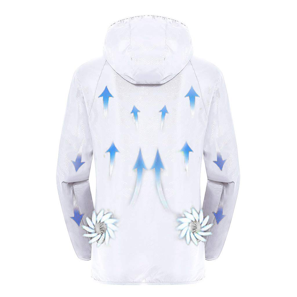 Jacket with Fans,Men's Hooded Air-Conditioned Clothes Outdoors Sports Jacket and Zipper (S, White)