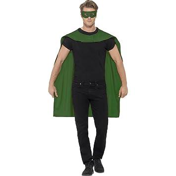 Capa y máscara de superhéroe Disfraz salvador verde Manto superman y antifaz Traje héroe adulto Vestimenta