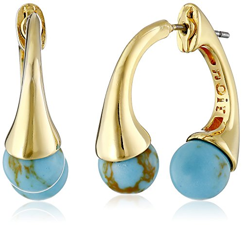 - nOir Jewelry Gold and Turquoise Color Sphere Semi Precious Front Back Earrings