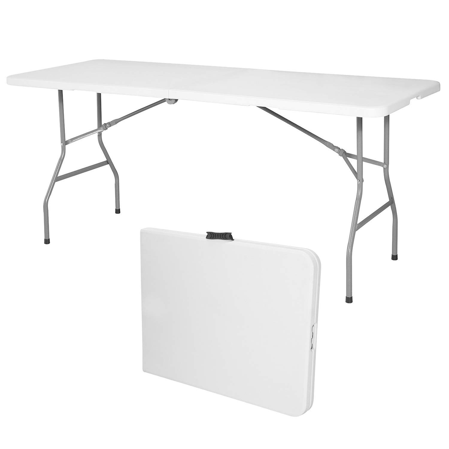 Modern-Depo 6FT Folding Table Portable Plastic Dining Table with Handle and HDPE Top Powder Coated Iron Frame for Indoor, Outdoor, Picnic, Party Camping, White