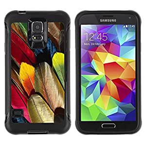 LASTONE PHONE CASE / Suave Silicona Caso Carcasa de Caucho Funda para Samsung Galaxy S5 SM-G900 / Feathers Colorful Bird Art Wallpaper Drawing