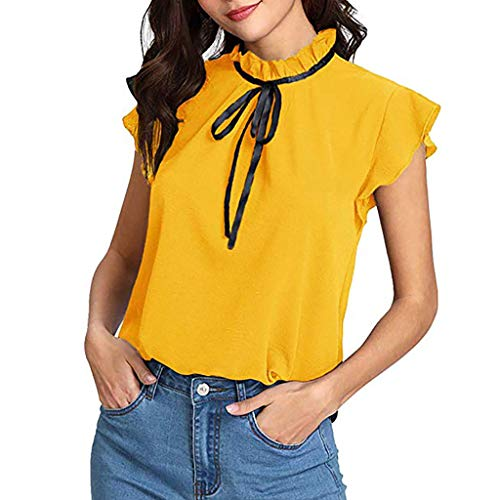 Women's Casual Solid Chiffon Cap Sleeve Bow Tie T-Shirt Blouse Tops(Yellow,S) (Cap Mexico Womens T-shirt Sleeve)