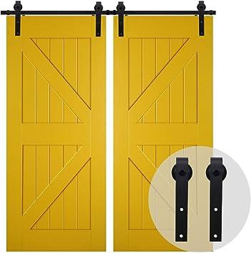 200CM/6.6FT Puerta de granero corredera estilo rústico puerta de granero corredera de madera para armario puerta granero herraje colgadocon guía rodamientos deslizantes, para puerta doble: Amazon.es: Bricolaje y herramientas