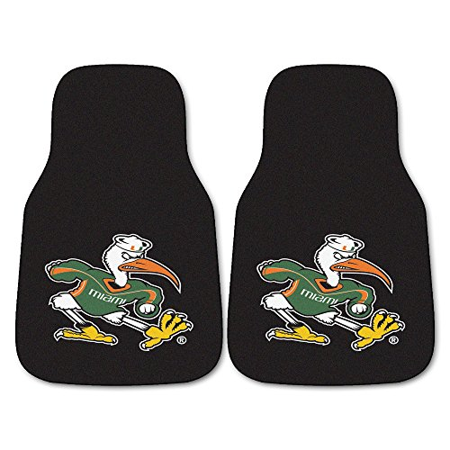 (FANMATS NCAA University of Miami Hurricanes Nylon Face Carpet Car Mat)