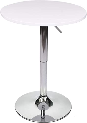 24 Inches Round Bar Table Adjustable Height Chrome Metal and Wood Cocktail Pub Table MDF Top 360 Swivel Furniture White