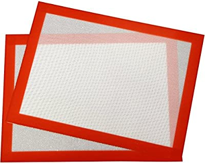 Silicone Baking Sheets Baking Mats - Set of 2 Half Sheet Baking Pan Mat Liners for Cookies, Macaron, Pastry, 16 x 12 Inches