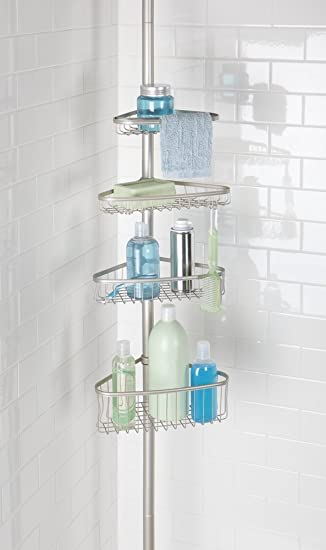 MDesign Telescopic Shower Caddy   Stainless Steel Shower Caddy   No Drill  Corner Shower Shelves With
