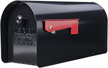 Mailbox Medium Galvanized Steel Post-Mount in Black with Outgoing Mail Indicator