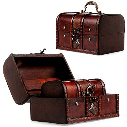 2pcs Set Wooden Pirate Jewellery Storage Box Case Holder Vintage Treasure Chest (Irish Make Up Bell)