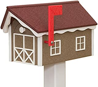 product image for Recycled Poly Plastic Barn Mailbox USA Handmade (Cherry & White)