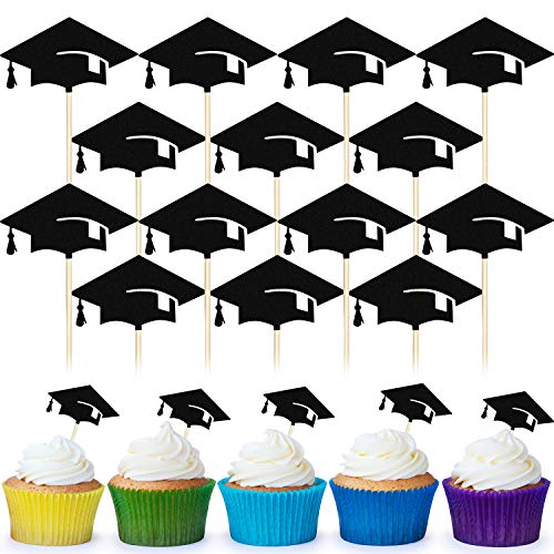 90 Packs Graduation Cake Topper Graduation Cap Toothpicks Graduation Cupcake Toppers Creative Graduation Cap Party Cake Topper, Black]()