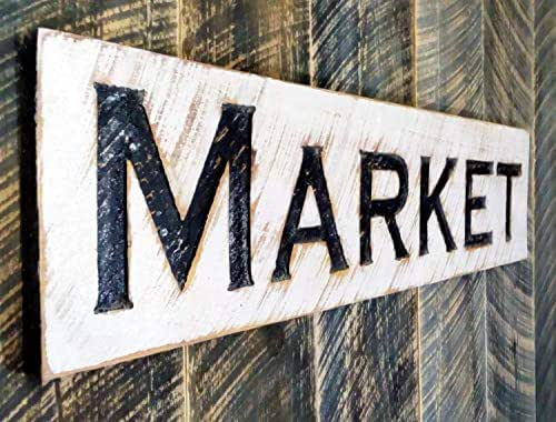Amazon.com: Market Sign 40 x 10 Horizontal - Carved in a