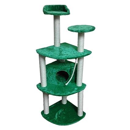 Rascador para gatos con casita columnas verticales para uñas y hilo 3 pisos cm. 144